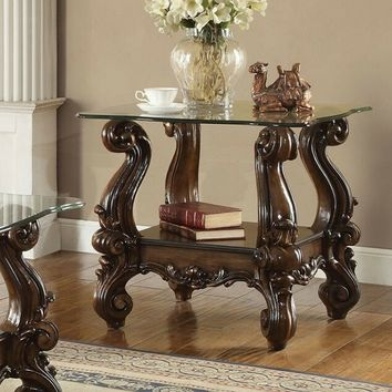 Versailles collection cherry oak finish wood carved accents glass top end table