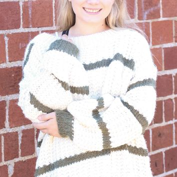{Olive} Wide Neck Chunky Knit Striped Sweater