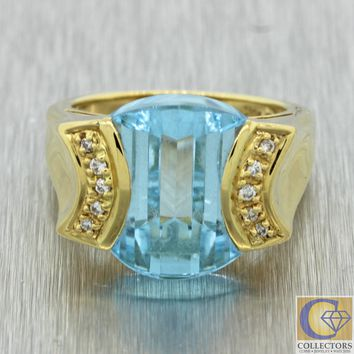 Vintage Estate 18k Yellow Gold Aquamarine Diamond Cocktail Ring