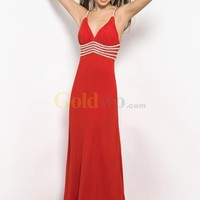 [US$209.99] Red A-line V-neck Backless Spaghetti Straps Beading Chiffon Prom Dress