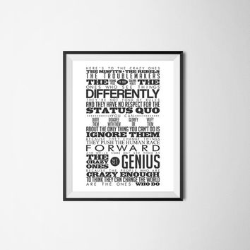 Steve Jobs quote, Here's to the crazy ones, 8x10 digital download, typography, printable, home decor, poster, black and white, motivational