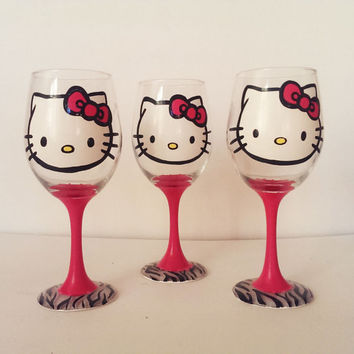 Hello Kitty Wine Glasses - set of 3 - pink stem - zebra print base - 20 oz