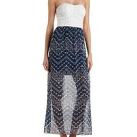 Navy Combo Crochet & Chiffon Strapless Maxi Dress by Charlotte Russe