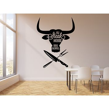 Vinyl Wall Decal BBQ Meat Special Grill Menu Steak House Beef Food Stickers Mural (g904)