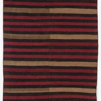 Handmade  Unique Striped Over Dyed Kilim Rug 4'9'' x 11'11'' ft 145 x 364 cm (Free Shipping)