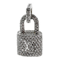 Louis Vuitton Diamond White Gold Padlock Charm Pendant