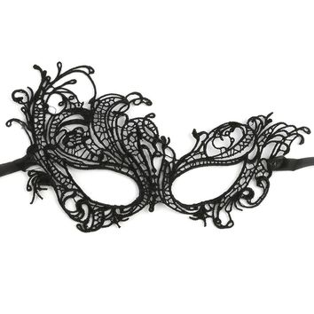 Black Crochet Lace Masquerade Mask General Merchandise