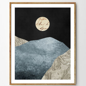 Winter Solstice - Landscape Painting, Mountain Art, Surreal Painting, Nature Prints, Moon Art, Vintage Map, Mixed Media, Giclee Print