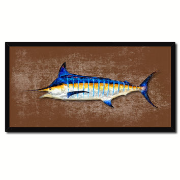 Blue Marlin Fish Art Brown Canvas Print Picture Frames Home Decor Nautical Fisherman Gifts