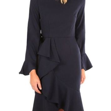 Navy Blue Irregular Draped Long Sleeve Peplum Prom Evening Party Midi Dress
