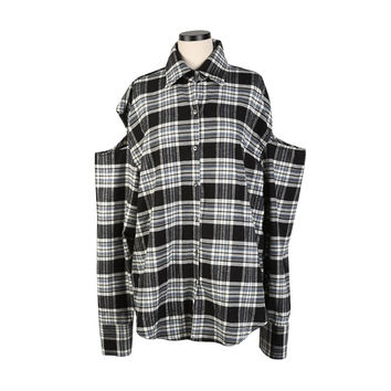Check Print Cut Out Shoulder Button-Down Shirt