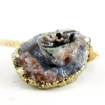 OOAK Raw Druzy Necklace - Natural Agate Druzy Pendant Necklace - Sparkle Galaxy Druzy - DGN33