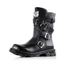 Mens Buckle Straps & Bullets PU Leather Punk Rock Boots Motorcycle Martin Boot Army Boots BLACK