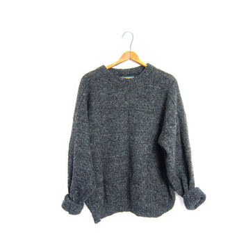 Slouchy Speckled Gray Boyfriend Sweater Basic Wool Pullover Nerd Grandpa Chunky Knit Grey Sweater Mens Medium