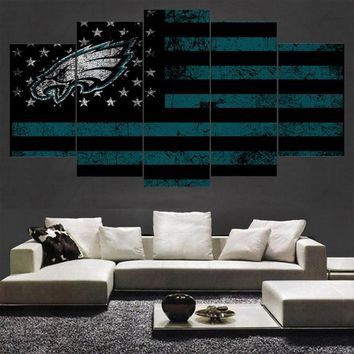 5 Pcs Sport Philadelphia Eagles Poster Canvas Paintings Wall Art Oil Painting On Canvas For Living Room Unframed And With Frame