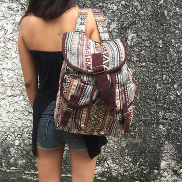 boho Ethnic backpack tribal style fabric Hippie Hill tribe Travel Luggage bag Bohemian Hipster Folk bucket bag Native Men women gift brown