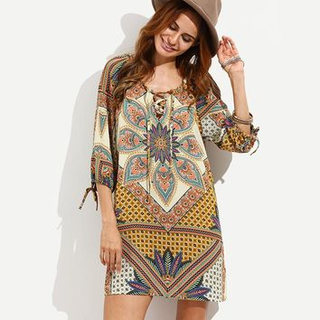 The new vintage print loose-fitting dress
