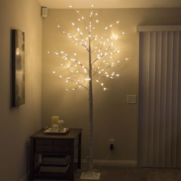 8Ft 132L LED Decorative Birch Tree Lights Home Festival Party Christmas Wedding,Warm White