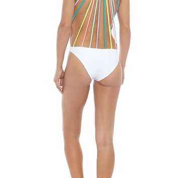The Rainbow Line Up Strappy Caged One Piece Swimsuit - White