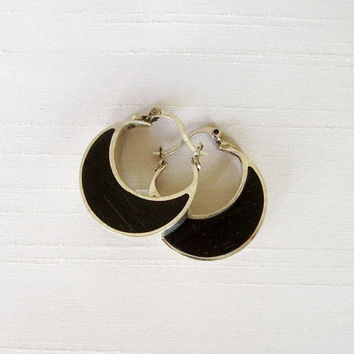 Elegant Hoop Earrings in Sterling Silver and Ebony - Moon Hoop Earrings - Small Hoop Earrings - Delicate and original - Wooden Hoop Earrings