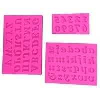 3 d English letters and Numbers fondant cake mould soap kitchen baking chocolate silicone mold FT-182