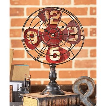 Vintage Style Industrial Fan Table Clock. Red, Black or Blue. Tabletop Clock