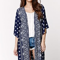 LA Hearts Basic Crepe Kimono - Womens Shirts - Blue - One