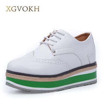 XGVOKH Brand Fashion Women Shoes Lace-up Female Flat Platform Shoes Height Increasing casual Flats