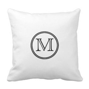Monogram White Throw Pillow