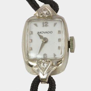 Vintage Ladies Wrist Watch - 14kt White Gold Movado - Diamond Accents