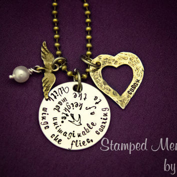 With wings she flies - Inspirational Necklace - Hand Stamped Stainless Steel and Brass - Heart and Wings with Pearl - Personalized with Name