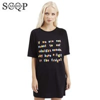 SCQP Letter Black Dresses Women O Neck Mini Straight Office Ladies Dresses 2016 Summer Short Sleeve New Casual Tshirt Dress