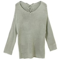 Ribbed Knit Light Green Batwing Sweater