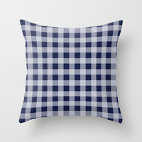 Checker Cross Squares Navy Blue Throw Pillow by BeautifulHomes | Society6