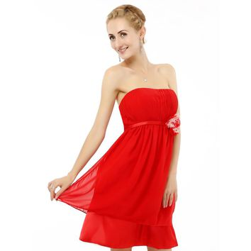 Homecoming Dresses Red Chiffon Strapless Prom Dresses Short Knee Length Prom Dress