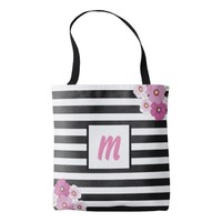 Monogram Pink Flowers Tote Bag for Mom