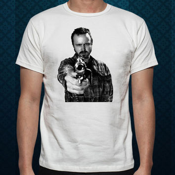 Best Design by ClothingShirt Jesse Pinkman Gun Breaking Bad For t shirt Mens and T shirt Ladies color White