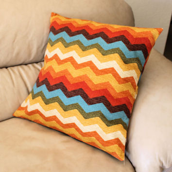 Chevron Panama Wave 16 inch Decorator Throw Pillow Cover by Waverly, Adobe Color Way in rust, turquoise, brown and tan