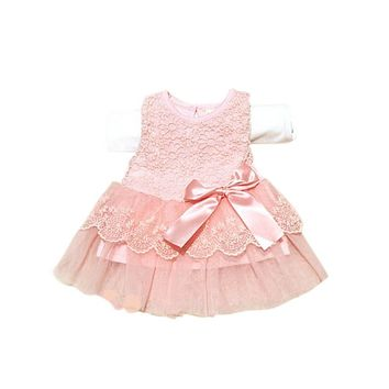 Hot Baby Kids Girls Lace Bowknot Flower Dress Princess Dress Formal Party Tutu Dress Children Clothes Vestido LL8