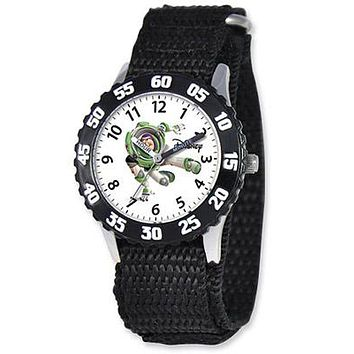 Time Teacher Buzz Lightyear Watch - White Dial - Black Nylon Strap w/ Velcro