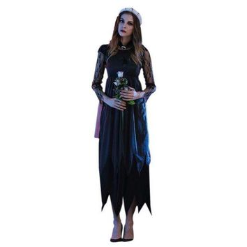 ESBONIS 2017 halloween costumes for women Long Maxi  lace Party Dress Beach Dressesvestido de festa cosplay vampire Witches Hot Sale W1