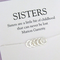 4 SISTERS Necklace, FOUR Sisters Sterling Silver. SISTER Necklace. Sister Gift, sister birthday gift, 40th birthday gift ideas for women