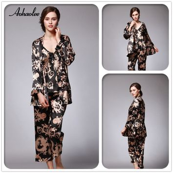 New Fashion Sexy Silk Robe Sets 3 Piece Women's Pajama Sets Dragon Print Women's Sleepwear Babydolls Silk Pajama Sets
