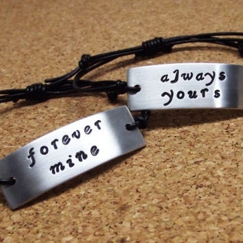 Forever Mine Always Yours Quote Leather Bracelet Set of 2
