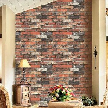 Vintage Natural Brick Wallpaper 3D Effect Realistic Faux Shabby Red brick Wall Wallpaper Bathroom Hallway Background Wallpaper