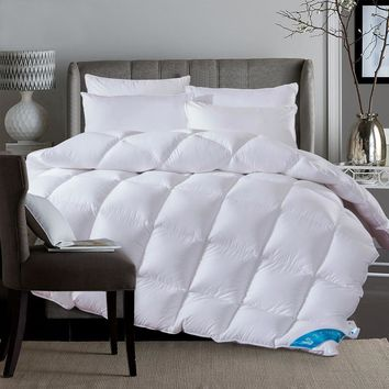 White 100% Duck Down Duvet winter autumn stiching quilted Quilt bedding Throw blanket king queen twin size