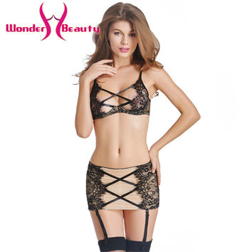 Mesh Bra and Garter Skirt  Lingerie Set Monopoly Game Exotic Dancewear Apparel Sexy Lingerie Lace Bra and Garter Skirt  W46216