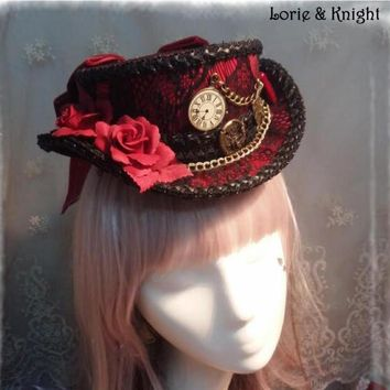 DIY Alice in Wonderland Inspired Rabbit Clock Gothic Steampunk Lolita Cosplay Mini Top Hat Black & Red