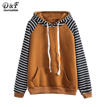 Dotfashion Brand Sweatshirt Woman Fashion Hoodie Womens Hoodies Pullover Contrast Raglan Sleeve Hooded Striped Sweatshirt