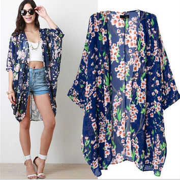 2017 new summer kimono printing Chiffon cardigan sunscreen clothing